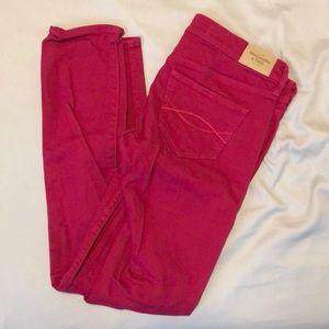 Raspberry A&F skinny jeans